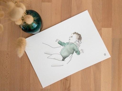 portrait sur mesure personnalisé aquarelle bébé