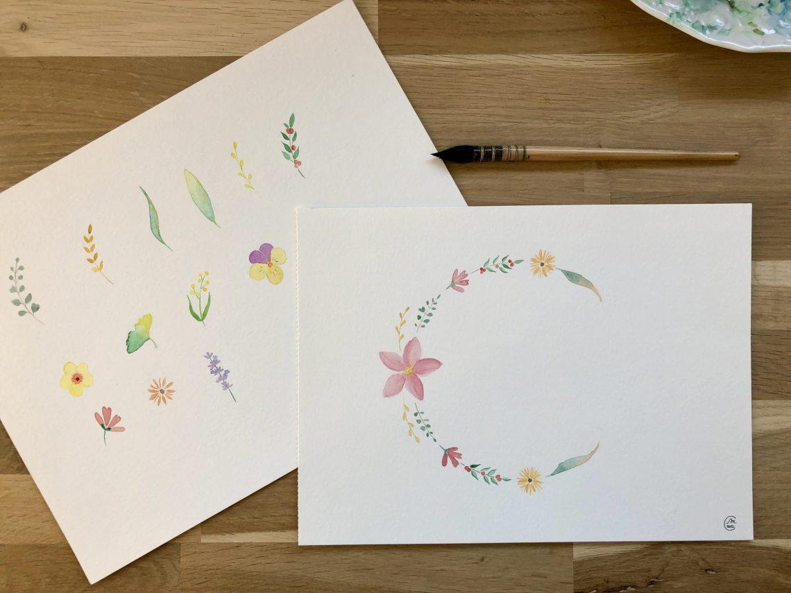 planche et couronne de fleurs et plantes aquarelle