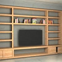 (1572) Symetryczny regał do salonu z miejscem na telewizor