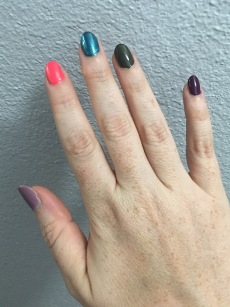 """From left to right: ILNP Lilac Bridges, China Glaze """"Bite Me"""", Essie """"Trophy Wife"""", OPI """"Suzi-The First Lady of Nails"""" and Essence """"Amazed By You"""""""