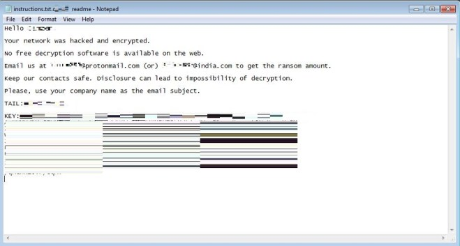 Figure 2. In the ransom note, the victim is instructed to contact the threat actor/s to know how much needs to be paid in exchange for decryption. Notably, the key used in the encryption is stored in the message itself, and not within the file. This means losing the ransom note could kill the chance of file decryption.