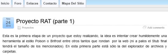 Figure 14. Proyecto RAT website
