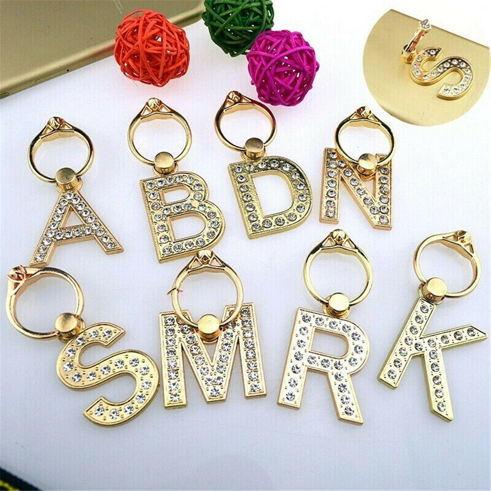 1PC Ultra Thin Gold Metal Rhinestone Letter Phone Stand A-Z 360 Rotation Finger Ring Holder Car Bracket Universal Support Socket