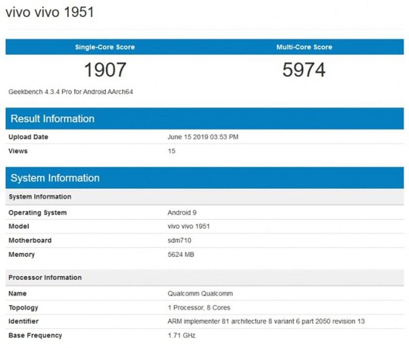 Sforum - Trang thông tin công nghệ mới nhất Vivo-1951-lo-cau-hinh-tren-Geekbench-1 Smartphone Vivo 1951 vừa được phát hiện trên Geekbench, dùng chip Snapdragon 710, RAM 6GB
