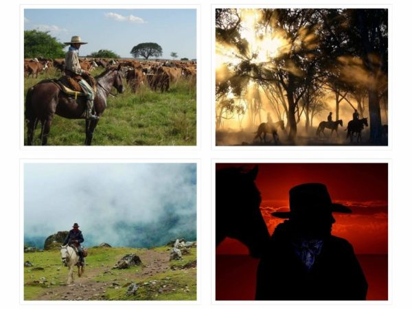 Es un collage de cuatro fotos de vaqueros de diferentes paises