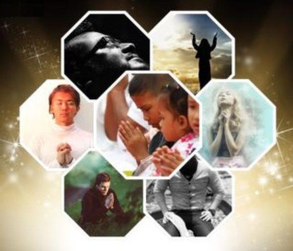 Es un collage de fotos de personas que estan orando estos incluyes hombres jovenes mujes y ninos