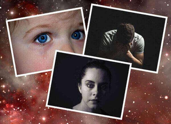 Es un collage de tres fotos que estan llorando un nino un hombre y una mujer