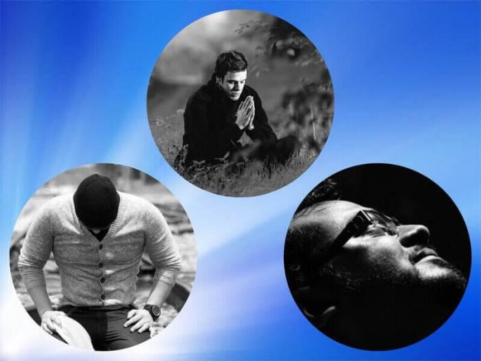 Es un collage de tres hombres orando a Dios