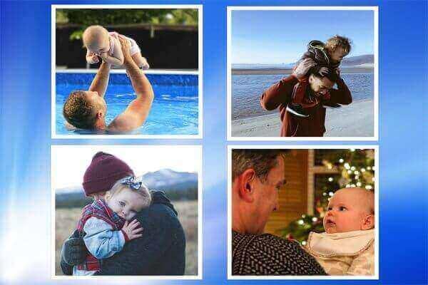 Son cuatro fotos de padres que tienen a su hijo pequeno en su brazos