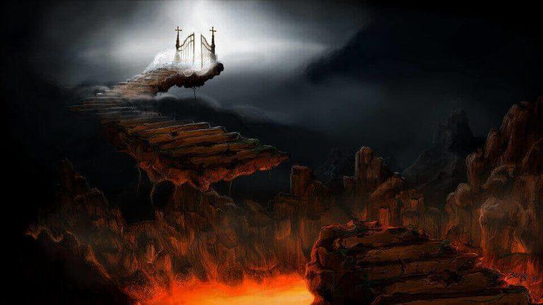 Es una imagen del cielo y la otra del infierno