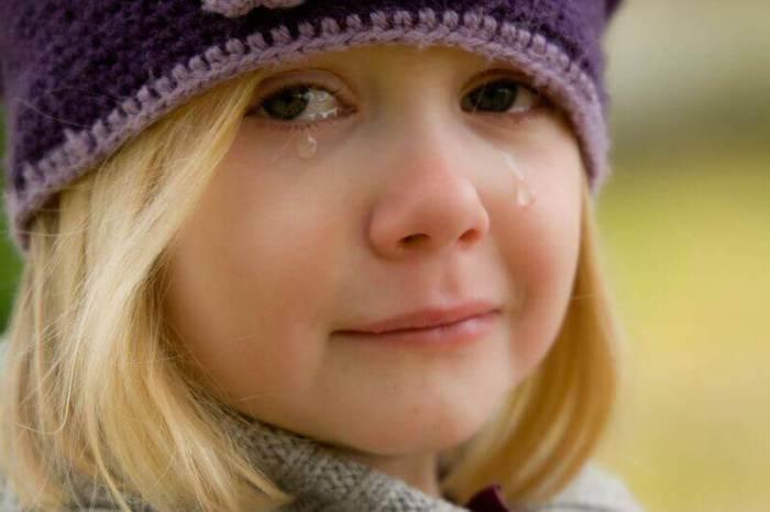 El rostro de una nina llorando