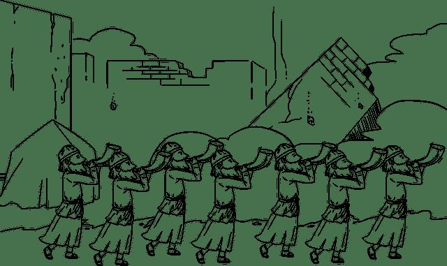 Es una caricatura de sacerdotes tocando la trompeta alrededor de Jerico