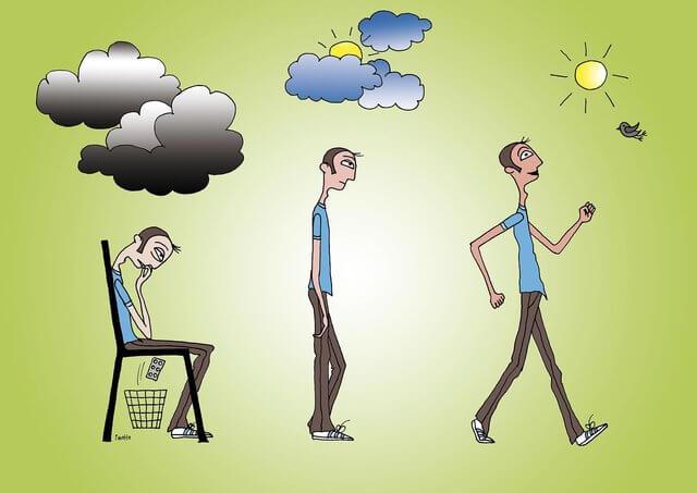 Es una caricatura de un hombre que esta deprimido y recibe la sanidad