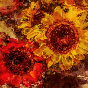 Sunflowers with a grunge effect.