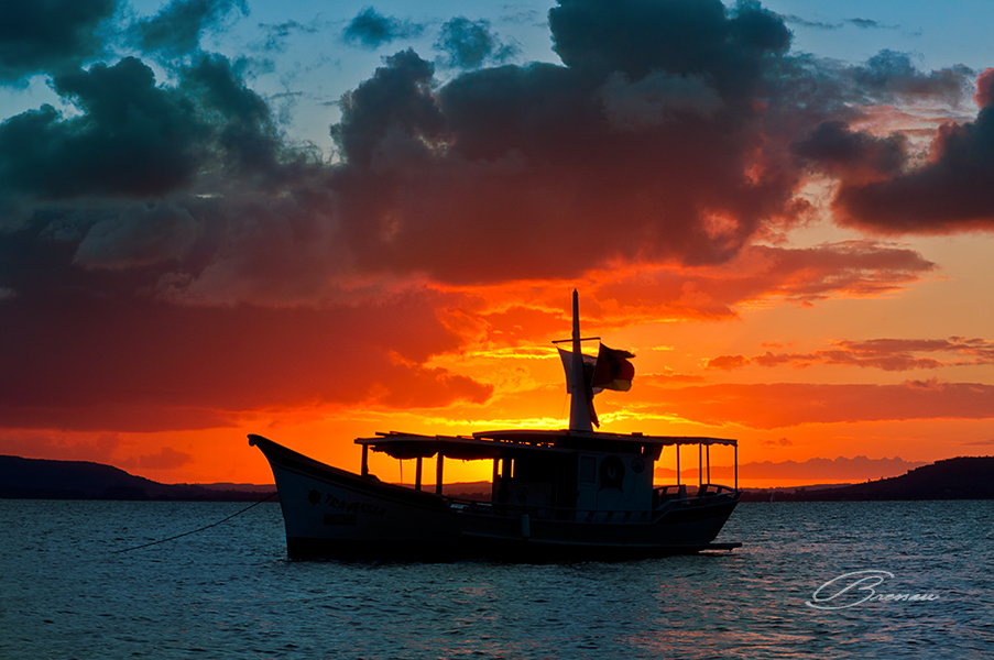 Sunset at Guaiba River, Porto Alegre, Brazil