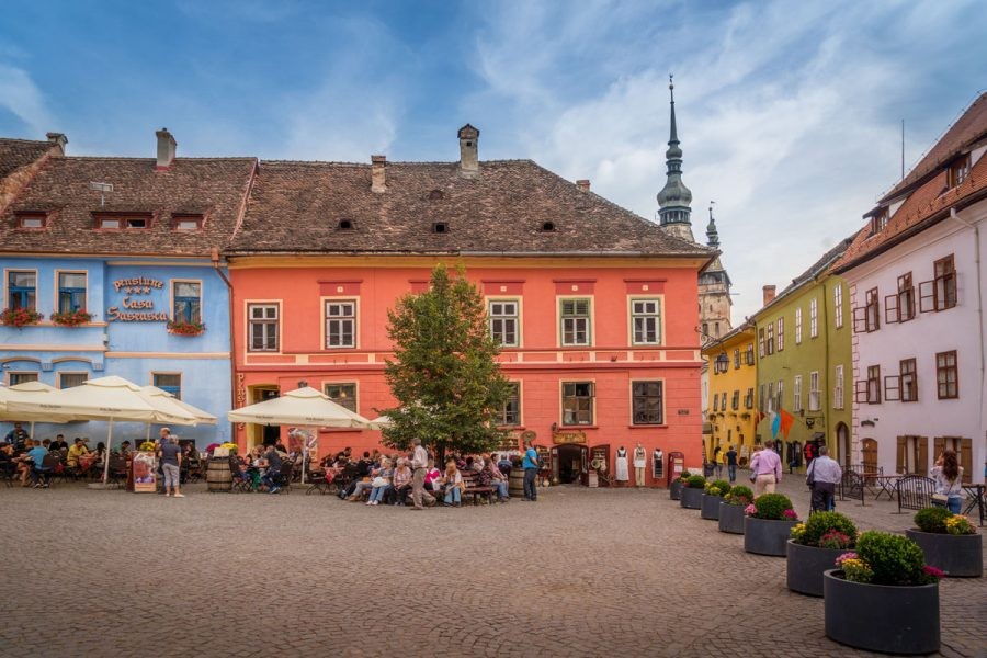 Sighisoara, Romania, The Main Square in the Historic Center