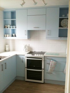 Duck Egg Blue Solid Slab Small Kitchen, copyright Celtica Kitchens 2014