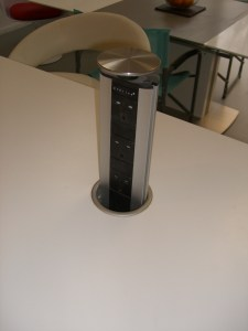 pop-up socket in kitchen worktop in raised position