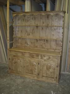 Welsh Dresser, triple cabinets, ornamental sides and top, Copyright Celtica Kitchens