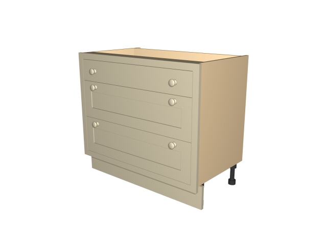 drawer base cabinet by Celtica Kitchens: single drawer, two pan drawers; drawers in lacquered birch ply; soft close runners