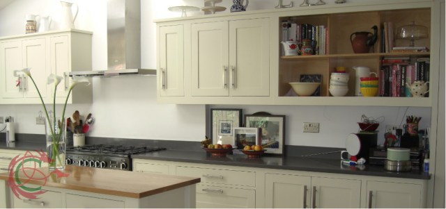 Affordable bespoke kitchen in North West London with potshelf table by Celtica Kitchens