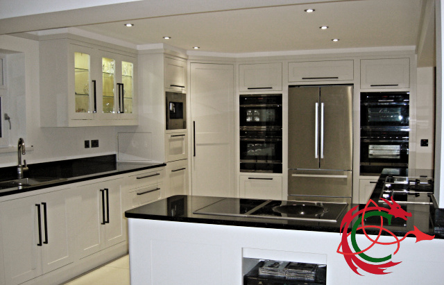 Modern classic kitchen, Shaker in frame doors, island, applainces, star galaxy granite worktop
