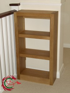small solid oak bookcase, bookshelves, made to measure for landing corner