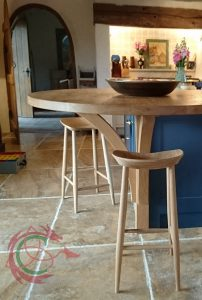 Bespoke kitchens South Wales / West Wales: solid oak breakfast bar, stools