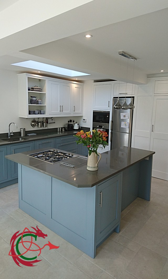 painted shaker kitchen in North London with L shape island