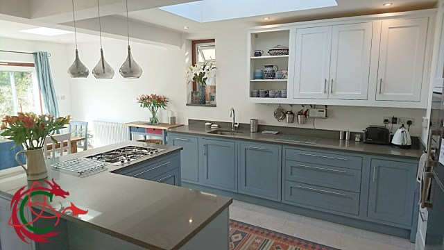 two tone painted shaker kitchen: in-frame kitchen cabinets, L shape island