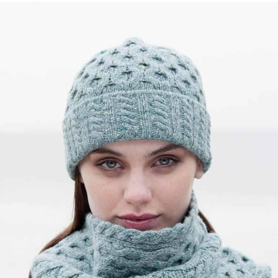 Womens Irish Aran Wool Hat Ocean Mist One Size Fits All