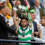 Celtic's Patrick Roberts celebrates with the Scottish Cup