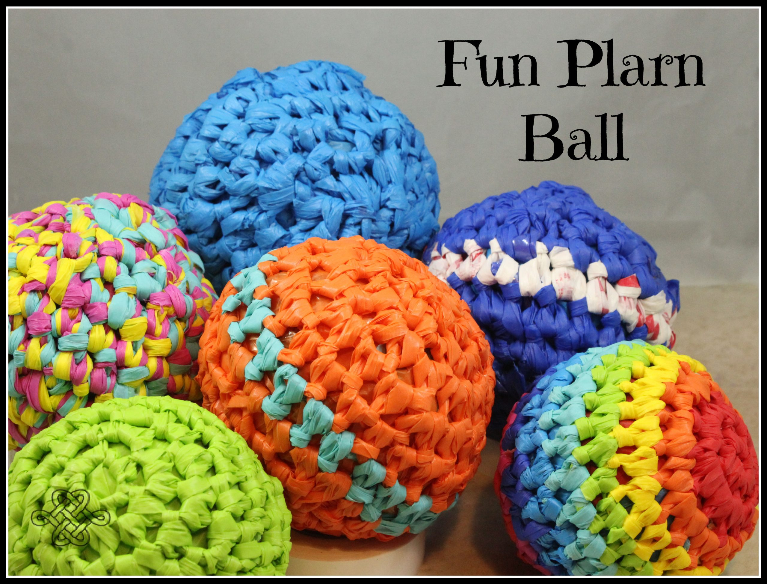 crocheted balls using plarn in various colors