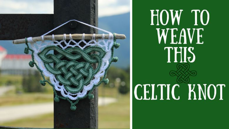 celtic knot wall hanging in green and white, crochet project