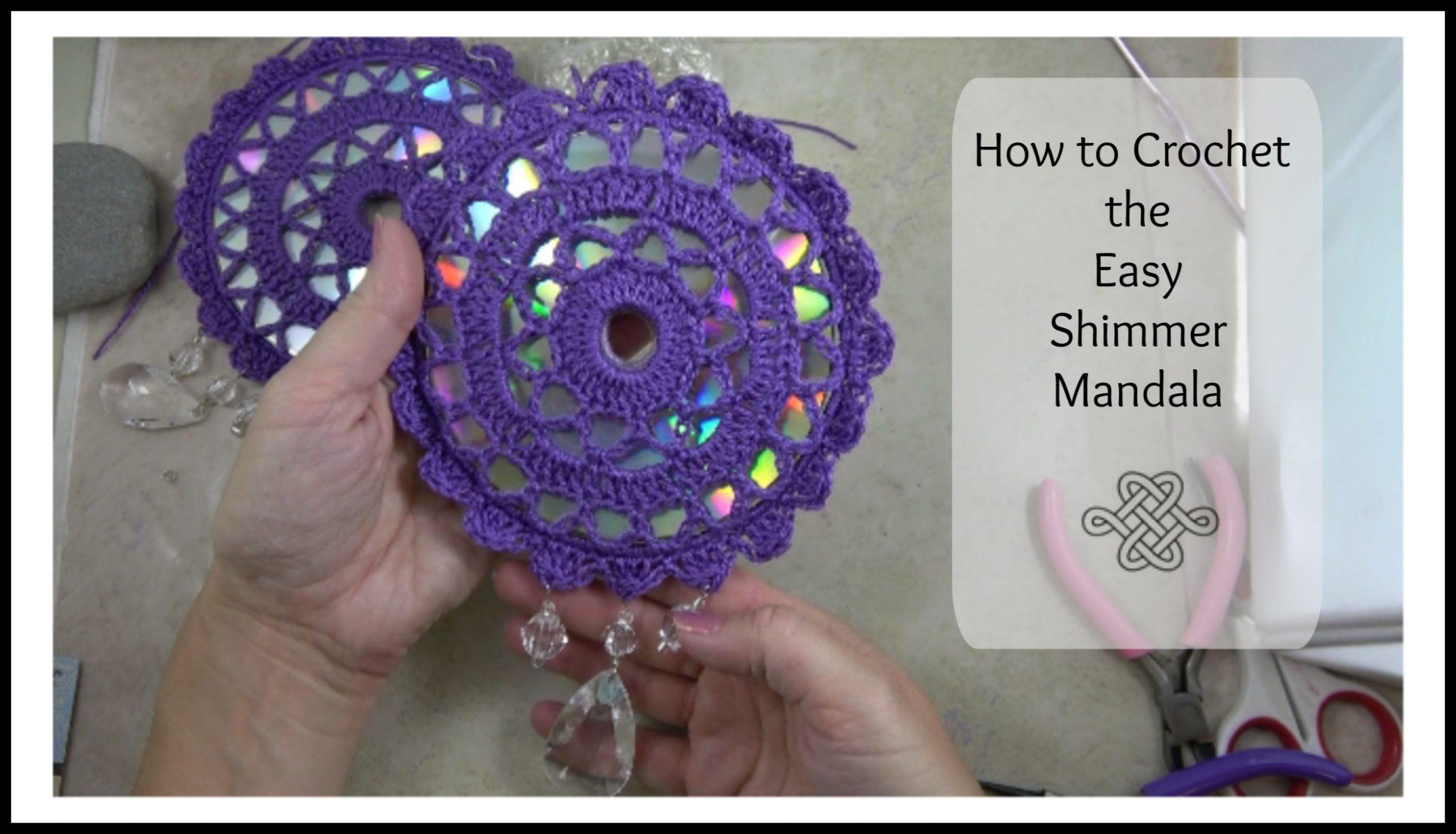 easy crochet mandala over a CD