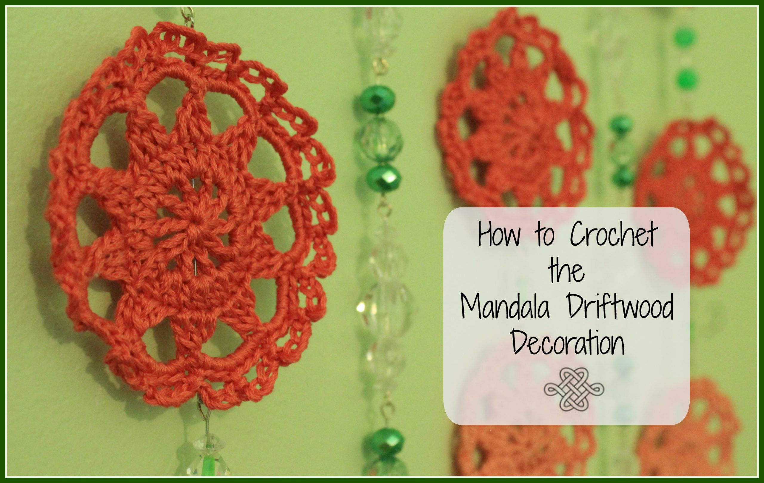 crochet small mandalas in coral with green beads wall hanging