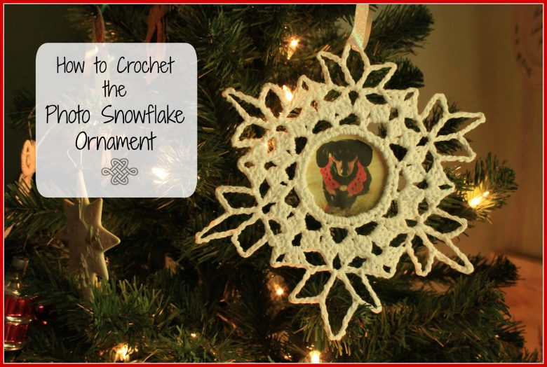 white crochet snowflake with hole in center for photo