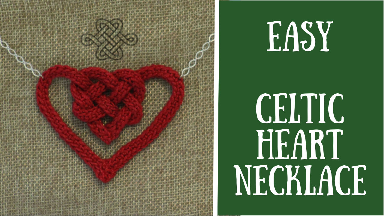 celtic heart necklace, red, easy crochet project