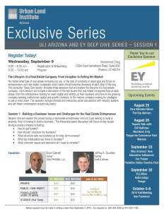 ULI Arizona  EY Deep Dive Series