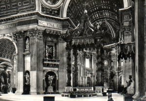 Interior of St. Peter's Basilica showing the baldachino above the altar over St. Peter's grave.