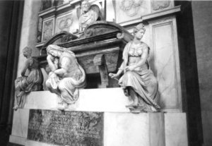 Michelangelo's tomb photographed without tour groups in the way.