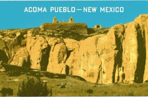 """The back of this vintage postcard says, """"Acoma Pueblo is situated...on an elevated island of rock 357 feet high."""""""