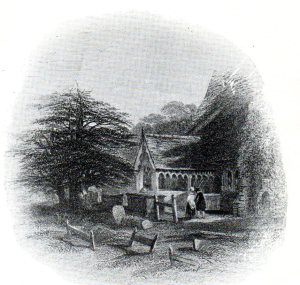 Yew tree, porch, and wooden grave boards, about 1790