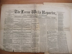 James Read's newspaper. Photo by Anne Born.