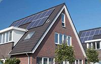 Bygg med varmepumpe og solcellepaneler
