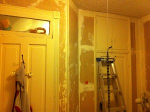 The Nipper's east wall. Two layers of wallpaper removed and the corners are re-mudded.