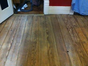 The Captain's floor after having been sanded - east wall