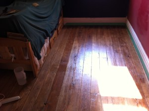 A second coat of varnish and a lot of mid-afternoon sunlight in The Captain's room.
